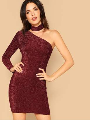 Shein One Shoulder Glitter Dress With Choker