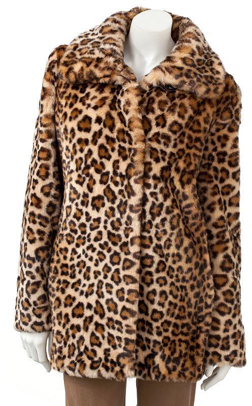 Giacca leopard faux-fur coat