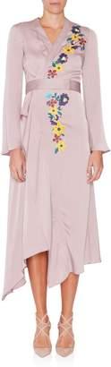 Etro Embellished Satin Wrap Dress