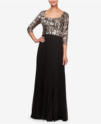 Alex Evenings Embroidered Pleated Gown