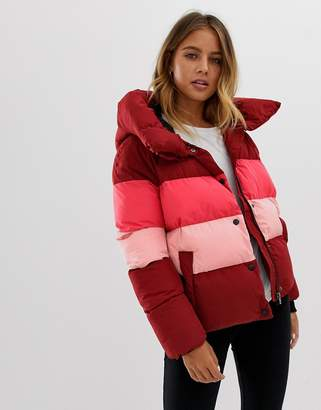 Only Mari colourblocked tube quilted jacket