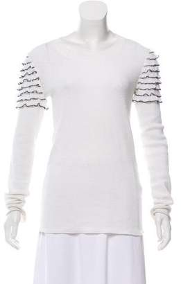 Sonia Rykiel Ruffle-Trimmed Long Sleeve Sweater