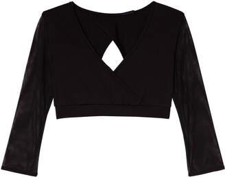 Bloch Black Aurelia Mesh Sleeve Wrap Top