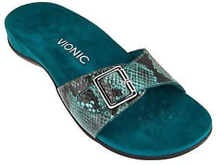 Vionic Orthotic Leather Slide Sandals- Santos
