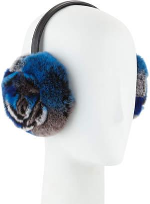 Adrienne Landau Petal Rosette Rabbit Fur Earmuffs, Blue