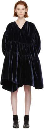 Cecilie Bahnsen SSENSE Exclusive Navy Velvet Christiane Dress