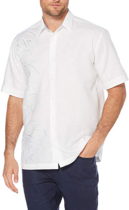Cubavera Asymmetrical Bamboo Embroidered Shirt