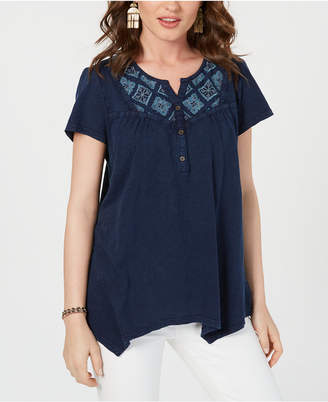 Style&Co. Style & Co Petite Cotton Embroidered Handkerchief-Hem Top