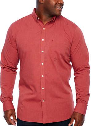 Izod Tall Slim Premium Essential Woven Mens Long Sleeve Button-Front Shirt-Slim