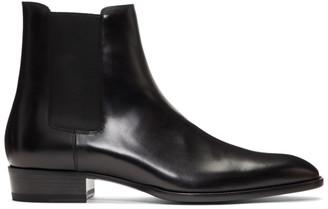 Saint Laurent Black Suede Wyatt Chelsea Boots