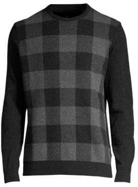 Barbour Men's Buffalo Check Crewneck Sweater - Graphite - Size Medium