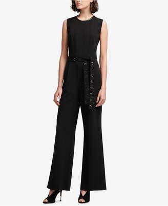DKNY Grommet-Belt Wide-Leg Jumpsuit