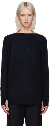 3.1 Phillip Lim Navy V-Back Sweater $525 thestylecure.com