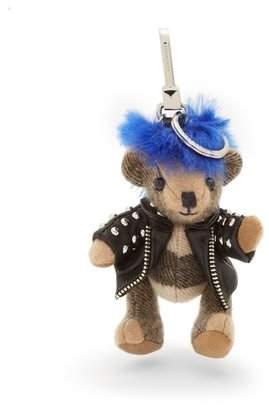Burberry Thomas Bear Monst Cashmere Keyring - Womens - Blue Multi
