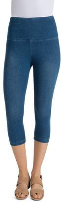 Lysse Denim Capri Leggings in Mid Wash