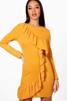 boohoo Nyla Ruffle Front Long Sleeved Bodycon Dress