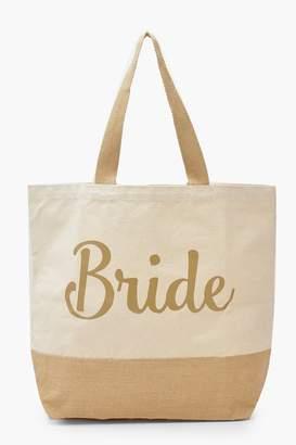 boohoo Foil Bride Straw Beach Bag