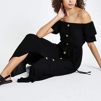 River Island Black button front bardot maxi dress