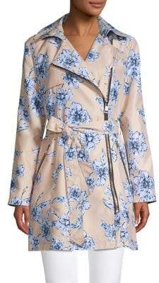 Karl Lagerfeld Paris Floral Zip Trench Coat
