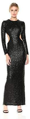 Dress the Population Women's Lara Long Sleeve Sequin Gown with Cut Outs