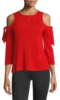 Red Haute Cold Shoulder Tie Top