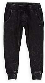 Munster Kids' Spillage Acid-Washed Cotton Pants-Black