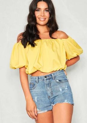 a7a29280566e6d Missy Empire Missyempire Jasmin Yellow Bardot Puff Crop Top