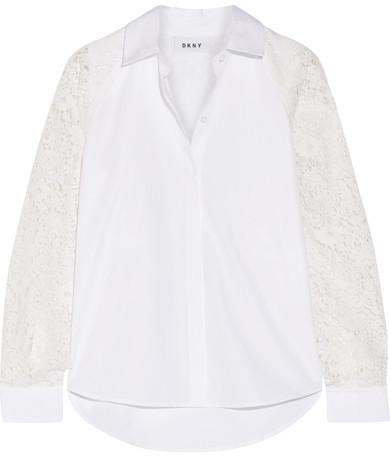 DKNY - Paneled Lace And Cotton-poplin Shirt - White