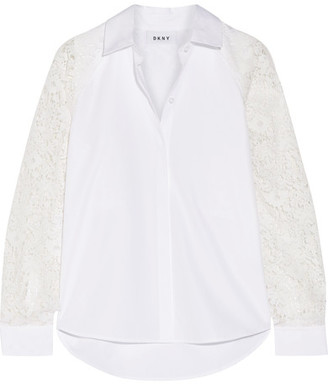 DKNY - Paneled Lace And Cotton-poplin Shirt - White $400 thestylecure.com