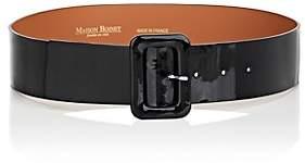 MAISON BOINET Women's Patent Leather Wide Belt-Black