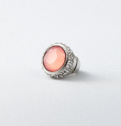 Round Stone and Pave Cocktail Ring