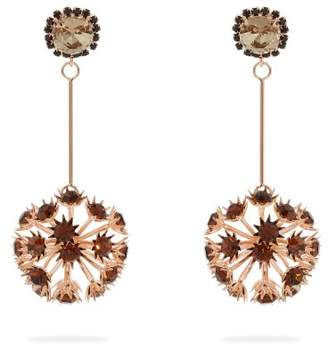 Erdem Crystal Embellished Floral Drop Earrings - Womens - Burgundy