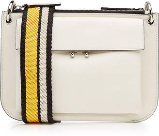 Marni Leather Shoulder Bag with Fabric Strap