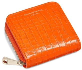 Aspinal of London Mini Continental Zipped Coin Purse In Deep Shine Amber Small Croc