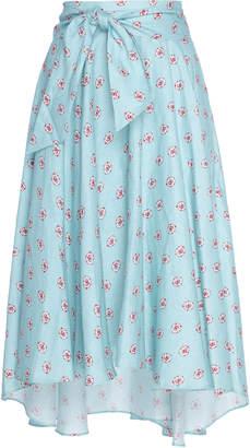 Miguelina Gale Printed Linen Midi Skirt