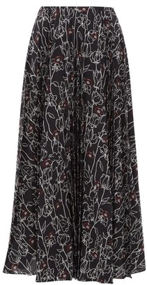 Valentino Pleated Floral Print Silk Crepe Midi Skirt - Womens - Black Multi