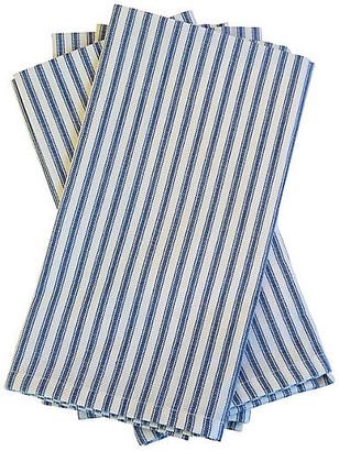 One Kings Lane Vintage Blue & White French Ticking Napkins - Set of 4