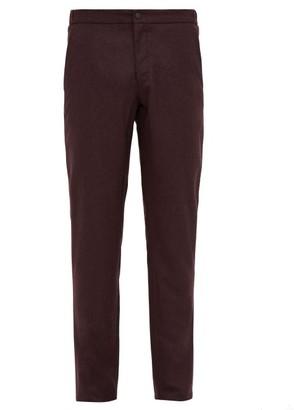 Incotex Slim Fit Flannel Trousers - Mens - Burgundy