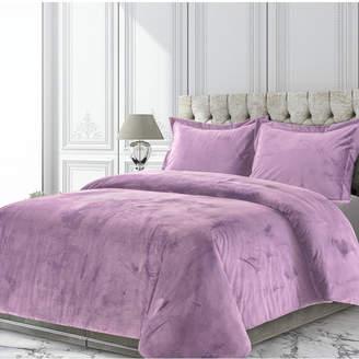 Tribeca Living Venice Velvet Oversized Solid Queen Duvet Cover Set Bedding