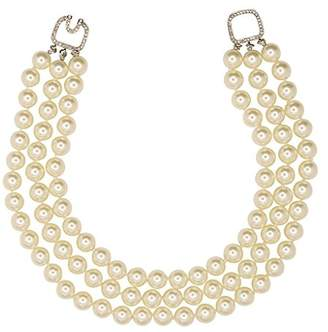 Kenneth Jay Lane Simulated Pearl Necklace Kenneth Lane Pearls 3 Rows 12mm Barbara Bush Style Pearls w Crystal Clasp