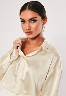 Missguided Nude Satin Cropped Shirt