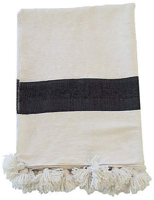 One Kings Lane Moroccan Pom-Pom Blanket - White/Black