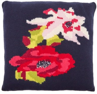 Allude Floral Intarsia Cashmere Cushion - Navy