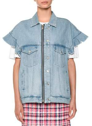 MSGM Short-Sleeve Denim Jean Jacket