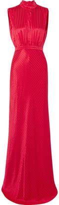 Saloni Fleur Silk-jacquard Gown - Crimson
