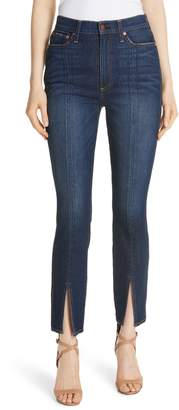 Alice + Olivia Good High Waist Front Slit Skinny Jeans