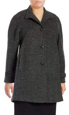 Jones New York Plus Tweed Button-Front Jacket