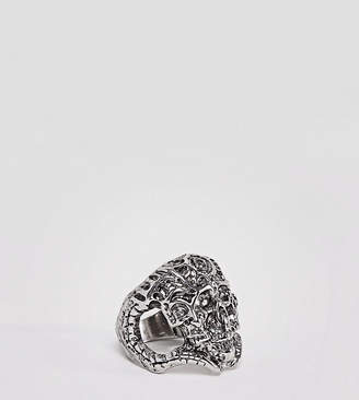 Sacred Hawk chunky skull ring