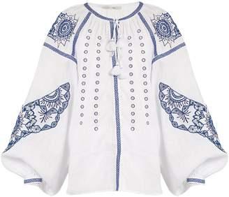 VITA KIN Owl cutwork-embroidered linen blouse
