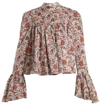 Caroline Constas James Floral Print Cotton Blouse - Womens - Burgundy Multi